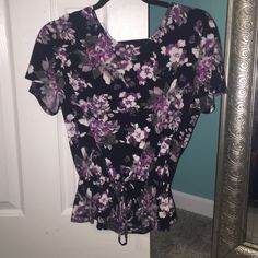 Candies Blouse Black with purple flowers. tie bottom to crest ruffle look. braided accents on back Candie's Tops Blouses