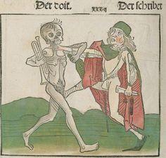 Der doten dantz mit figuren, clage vnd antwort schon von allen staten der werlt [Heidelberg] : [Heinrich Knoblochtzer], [nicht nach 1488] Ink T-398 / Im.mort. 1 Folio 43