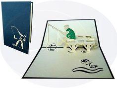 Aufklappbare POP UP Geburtstagskarte mit Angler. Mehr entdecken auf: www.lin-popupkarten.de Pop Up 3d, Pop Up Karten, Playing Cards, Inspiration, Manfred, Paper Mill, Birthday, Handarbeit, Biblical Inspiration