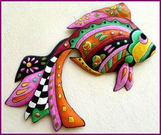 Painted Metal Art Tropical Fish Wall Hanging Garden Decor
