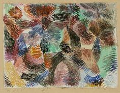 La libido de la Selva Paul Klee (alemán (nacido en Suiza), Münchenbuchsee 1879-1940 Muralto-Locarno) Fecha: 1917 Medio: Acuarela sobre yeso sobre tela Dimensiones: H. 5-5/8, W. 7-1/2 pulgadas (14,3 x 19,1 cm.) Clasificación: Dibujos Línea de crédito: La Colección Berggruen Klee, 1984