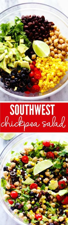 OMIT CHEESE- Southwest Chickpea Salad is a delicious and fresh chick pea salad filled so many delicious flavors and textures! This salad is fresh and healthy and easy to make! Clean Eating Recipes, Cooking Recipes, Whole Food Recipes, Dinner Recipes, Cocktail Recipes, Healthy Snacks, Healthy Eating, Vegetarian Recipes, Healthy Recipes