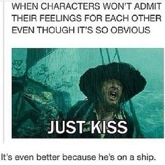 Credit tagged! Basically sums up shipping... On a ship... One of the best on screen weddings ever! #ship #shipping #ishipit #fangirl #fangirling #fandom #fandoms #otp #myotp #piratesofthecaribbean #captainjacksparrow #jacksparrow #willturner #johnnydepp #hesapirate #canon #justkiss