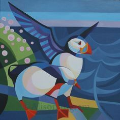 Puffins and Thrift II-Original Oil Painting by Alison Ingram
