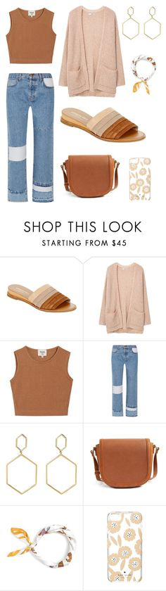 """""""Mocha Coffee"""" by amanda-parker500 ❤ liked on Polyvore featuring Kenneth Cole, MANGO, Samuji, Current/Elliott, Bony Levy, Sole Society, J.Crew and Kate Spade"""
