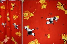 Kinderzimmer Gardine 'Zoo rot' 240 cm lang