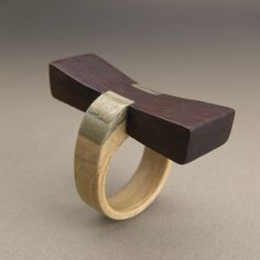 Ring | Gustav Reyes.  Wood.  Homage to George Nakashima.