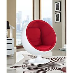 Kaddur Lounge Chair, Red - This retro lounge chair resembles a space-age pod creating a spark of interest in anyone who sees it. The fabric lined inner shell offers a sense of privacy and retreat as you relax into the plush cushions. Its exterior is a wonder; a molded fiberglass shell and matching fiberglass base with an integrated swivel mechanism. Set Includes: One - Kaddur Lounge Chair. Material: Fiberglass,paint,20KG/M3 density foam.100% polyester fabric,Sticked felt Pad on the…