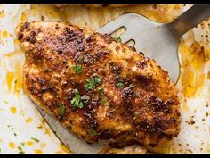 The secret to juicy Oven Baked Chicken Breast is to add a touch of brown sugar into the seasoning and to cook fast at a high temp. It colours beautifully and it's practically self-saucing!