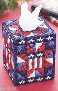 patriotic plastic canvas tissue box cover