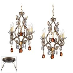 Leila Gold and Bronze Double Multi Light Pendant -