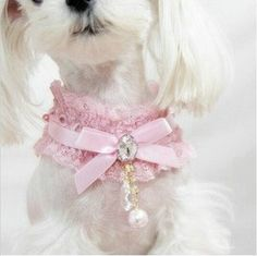 Pink Pet Cat Dog Necklace Lace Pearl Pendant Collar Princess Dog Collar for Small Dogs Dog Accesories, Pet Accessories, Dog Jewelry, Animal Jewelry, Dog Tutu, Dog Clothes Patterns, Cat Dog, Pet Puppy, Puppy Clothes