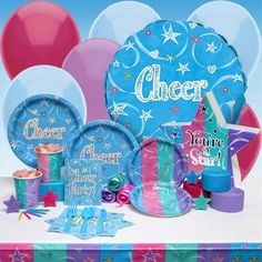good ideas for cheer party Cheer Birthday Party, Cheer Party, Birthday Ideas, 5th Birthday, Cheerleader Party, Kids Party Themes, Party Ideas, Gymnastics Birthday, Party Time