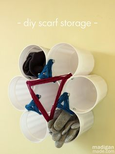 Easy Scarf Storage from Dollar Store Cups ~ Madigan Made { simple DIY ideas }