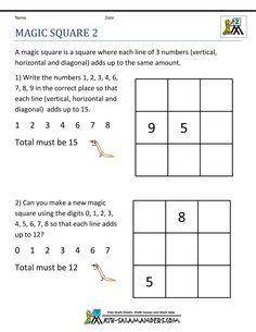 free math puzzles magic square 2