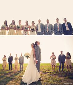 I love how the maid of honor is in a floral print and the bridesmaids are in a solid color/yellow. Brit + Daniels Fun Wedding on a Farm.