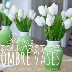 Dollar Store Spring Ombre Vases   Dollar Store DiY  Another thing even MARY can do lol.