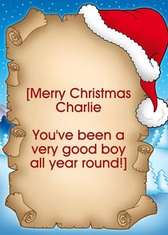 """HelloTurtle Christmas Cards """"Santa Hat Letter"""" personalised card Personalise and send this Christmas card to someone you care about. Same day despatch on orders received before (Mon-Fri) Personalised Christmas Cards, Santa Hat, Merry Christmas, Symbols, Letters, Day, Custom Christmas Cards, Merry Little Christmas, Personalized Christmas Cards"""