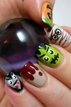 LOVE these Halloween nails - blood, dracula / vampire, mummy, frankenstein and pumpkin! Want to try them all!