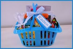 General Conference baskets. I love this idea. I'd have to tweak each basket to have things each child would actually be occupied with. Add some conference Bingo, treats and a juice box and they'll be happy ducks! At least for one session anyway. :)