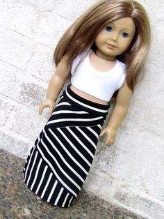 American Girl Doll Clothes Crazy Mixed Up Stripes Maxi Skirt and Cropped Tank Top by AvannaGirl on Etsy