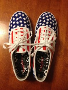 American Flag canvas tennis shoes by DanielleGraceDesigns on Etsy, $35.00 --ROAD TRIP the USA in these festive shoes.
