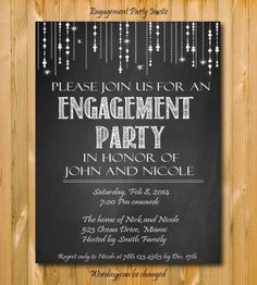 Engagement invitation, Engagement Party invitation, custom chalkboard invite, Printable invitation on Etsy, $14.99
