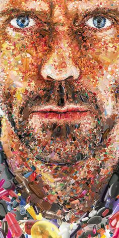 A mosaic portrait of Dr House made out pills. Editorial Illustrations 2011-2012 by Charis Tsevis, via Behance