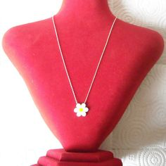 925 Sterling Silver White & Yellow Enamel Daisy by AfillyDsign, $34.90