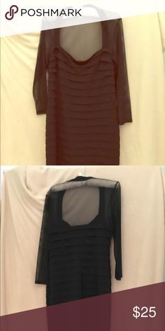 Maggie London black dress size 16 Sheer top with long sleeves. Very flattering horizontal black stripes on black background. 95% polyester, 5% spandex. Dry clean only. 39 1/4 inches from shoulder to hem. Runs small. Would work for a size 12. Maggie London Dresses Mini