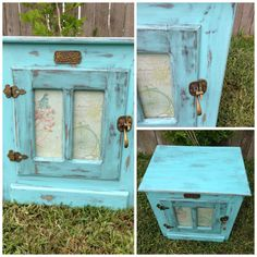 painted icebox | White Clad Ice Box turned Shabby Chic night stand