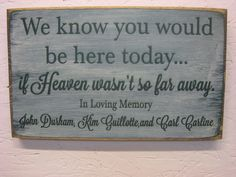 Rustic Personalized Memorial Sign We Know You Would Be Here Today. ..if Heaven wasn't so far away. on Etsy, $21.95