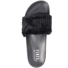 Puma Fur Slide by FENTY Women's Sandals (105 CAD) ❤ liked on Polyvore featuring shoes, sandals, fur shoes, embroidered shoes, strap shoes, strappy sandals and puma footwear