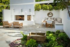 "This larger patio space designed by molly wood garden design is composed of two ""rooms"". there's the conversation grouping in front of the outdoor fireplace Outdoor Rooms, Outdoor Gardens, Outdoor Living, Outdoor Decor, Outdoor Seating, Wood Gardens, Outdoor Kitchens, Extra Seating, Outdoor Lounge"