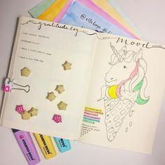Bullet Journal Mood Tracker Bujo Gratitude Log Unicorn Pastel Stabilo Highlighter