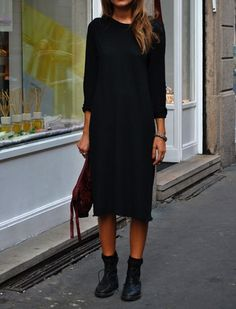 Long black casual dress
