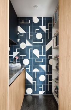 feature wall tiles in the pantry Pantry Design, Kitchen Design, Timber Battens, Front Rooms, Walk In Pantry, Home Interior Design, Living Area, Home And Family, Cottage