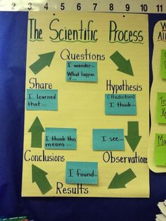"As written, this is for lower grades. Can be tweaked for upper elementary. ""Introducing the scientific process with some prompts to use when talking and writing."""