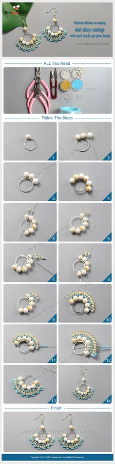 idea on making skirt shape with and Diy Bracelet Designs, Bracelet Patterns, How To Make Earrings, Diy Earrings, Wire Jewelry, Jewelry Crafts, Beading Tutorials, Free Tutorials, Diy Beaded Rings