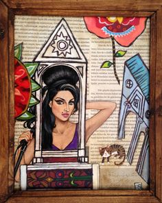 old book page painting Amy Winehouse