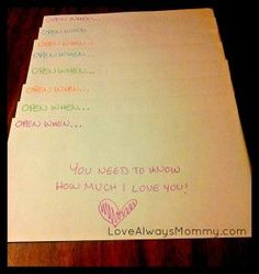 Open When Letters | Love Always Mommy. This Could Possibly Be Something To Treasure Especially If Someone Has Passed On.