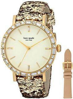 kate spade new york Women's 1YRU0602A Metro Grand Analog Display Japanese Quartz Beige Watch #gold #glitter #katespade #watch #fashion #glam