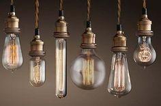 Antik Messing Hängelampe mit Edison Nostalgie 40W Glühbirne
