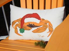 CRABBY SANTA painted pillow 12x20 30x50cm bah by crabbychris