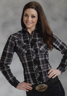 Womens Roper Black Plaid Shirt With Embroidery