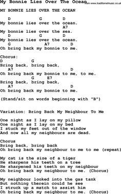 Summer-Camp Song, My Bonnie Lies Over The Ocean, with lyrics and chords for Ukulele, Guitar Banjo etc.