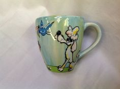 Coffee mug hand painted POODLE signed by Debby Carman Faux Paw Productions by FauxPawProductions on Etsy