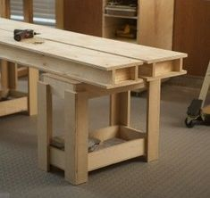 Woodworking Bench Torsion Box Workbench System - In our ongoing saga on garage shop makeovers, we take a look once again at the October/November Issue Workbench Designs, Workbench Plans, Woodworking Workbench, Woodworking Workshop, Woodworking Shop, Woodworking Crafts, Industrial Workbench, Folding Workbench, Woodworking Patterns