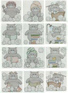 Alfabeto de hipopótamos en el baño para punto de cruz.