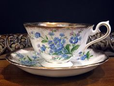 Forget-Me-Not Royal Albert Teacup and Saucer, Heavily Decorated Tea Cup Made in England -K